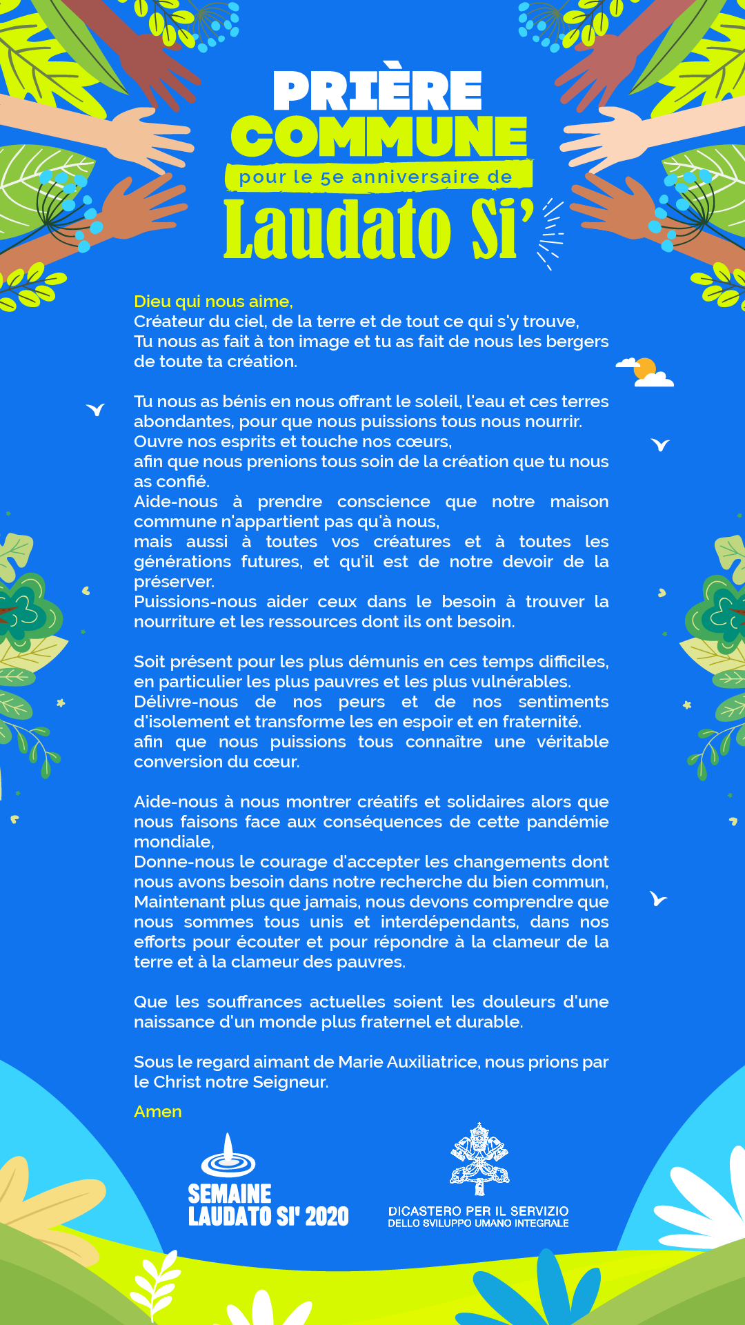 prière commune pour le 5ème anniversaire de Laudato si